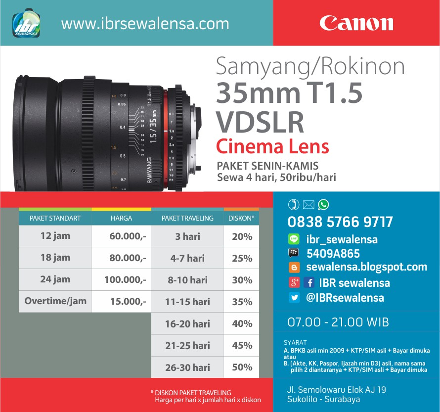 Sewa Rental lensa Samyang/Rokinon 35mm T1.5 VDSLR Cinema Lens for Canon