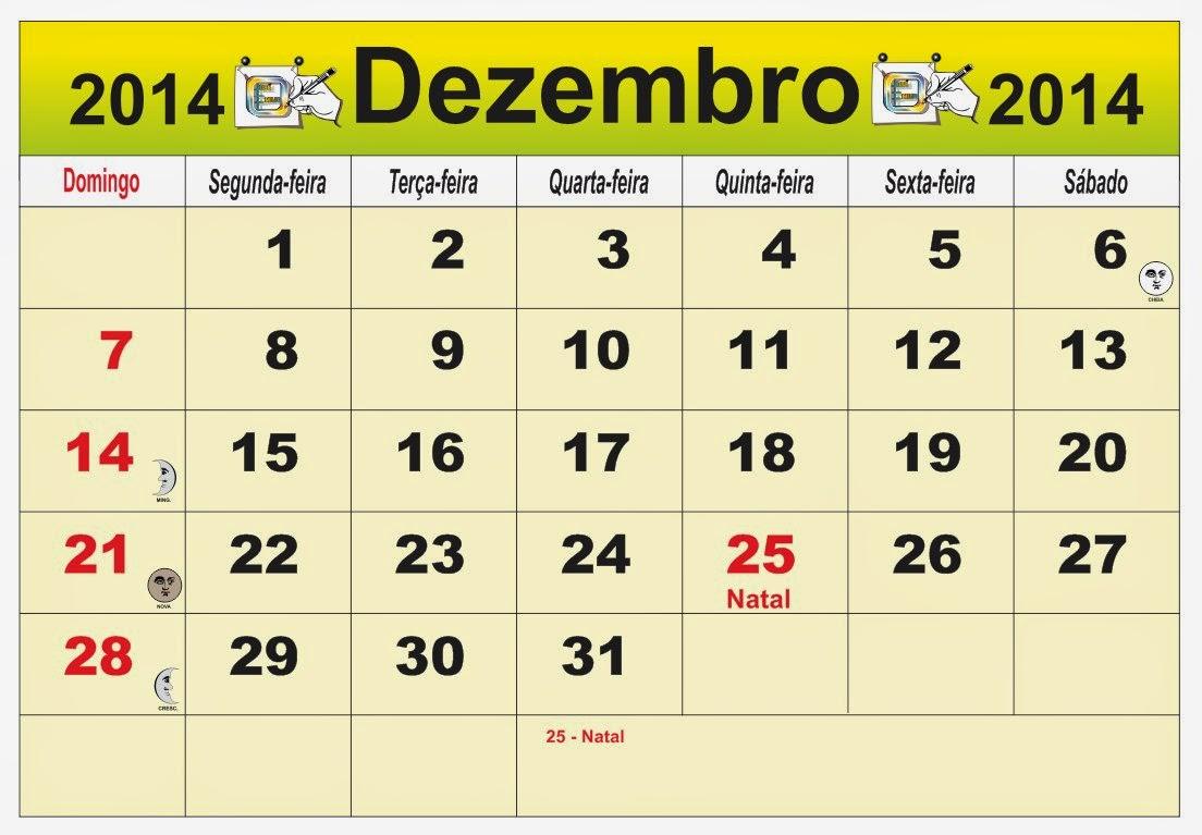 ... do mês de Dezenbro 2014, com as fases da lua e feriados nacional