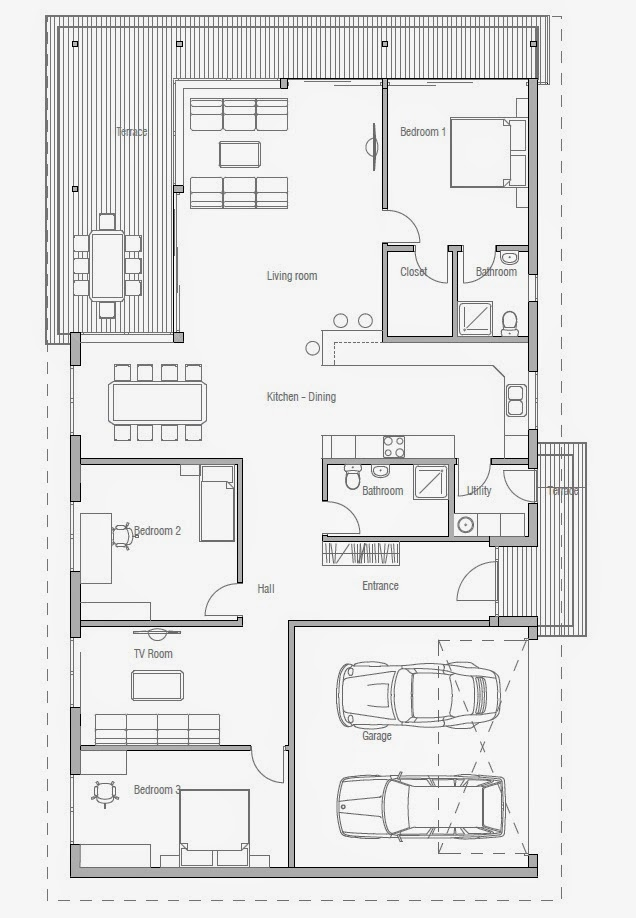 Plantas de casas modernas ch169 planta de casa moderna for Plantas casas modernas