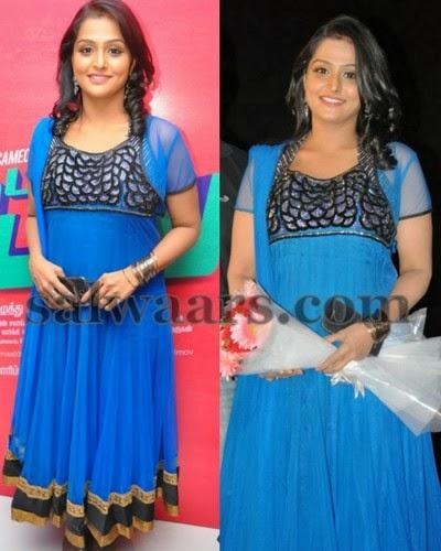 Remya Nambeesham Blue Salwar