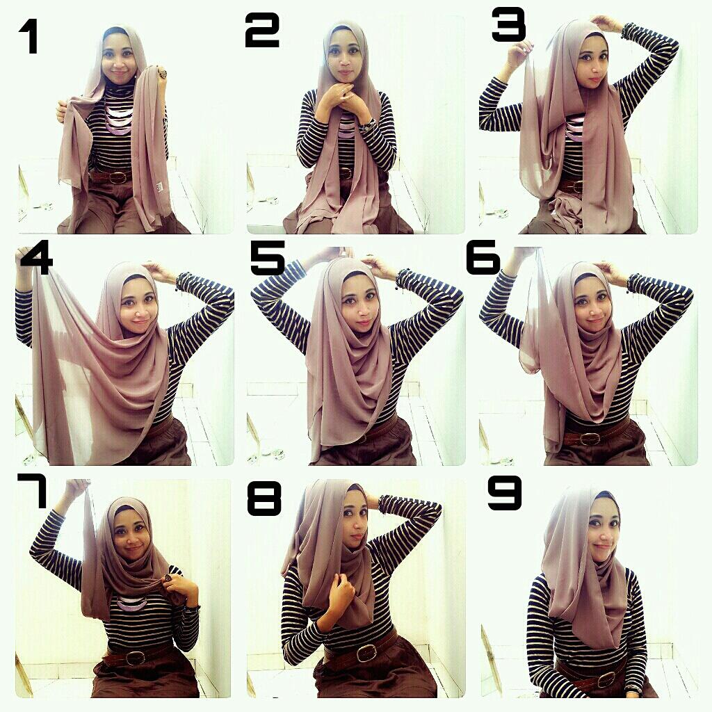 Cara Memakai Jilbab Kreasi Jilbab Pashmina Sifon