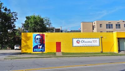 Obama '08 Campaign mural and erstwhile presidential campaign office in Midtown (later defaced)