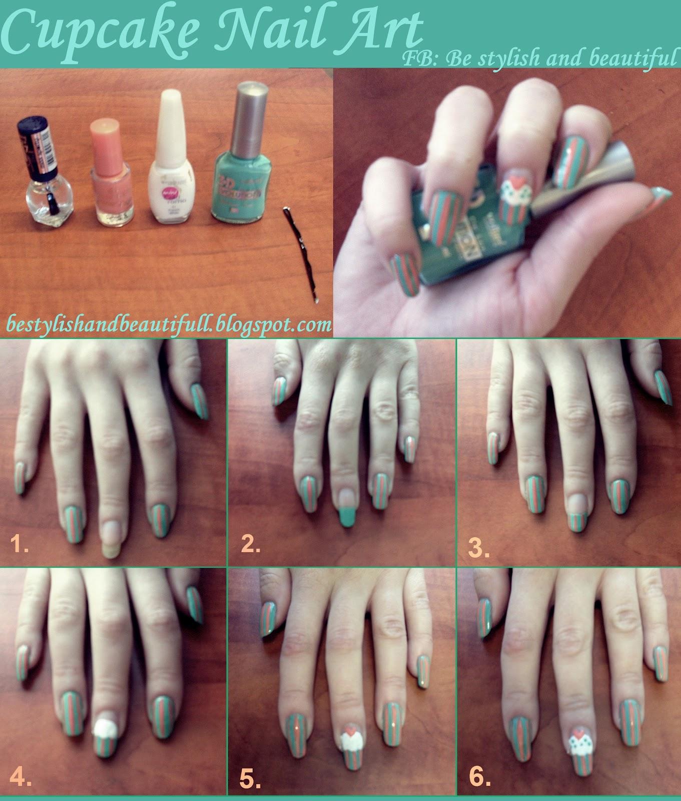 Cute cupcake nail art tutorial be stylish and beautiful prinsesfo Choice Image