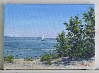 east harbor state park, sailboat, lake erie, acrylic painting