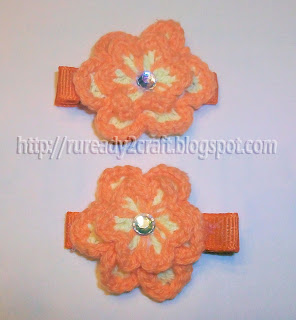 DIY embellished two tone two layer crochet flower hair bow