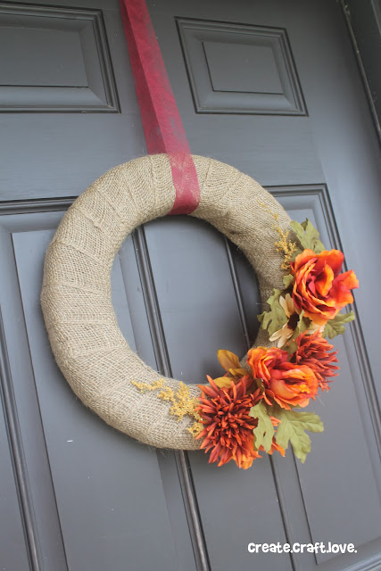 Simple Burlap Fall Wreath via createcraftlove.com #wreath #burlap #fall