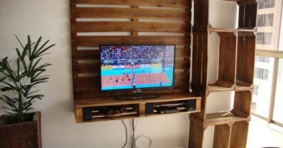 Mueble para la tv con palets y cajas - Como hacer un mueble para tv ...