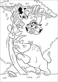 Desenhos Preto e Branco aventura na selva mickey mause e sua turma Colorir