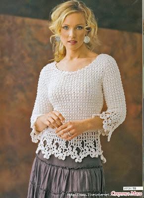 Blusa en Crochet Elegante Hilo Blanco! Con Patron