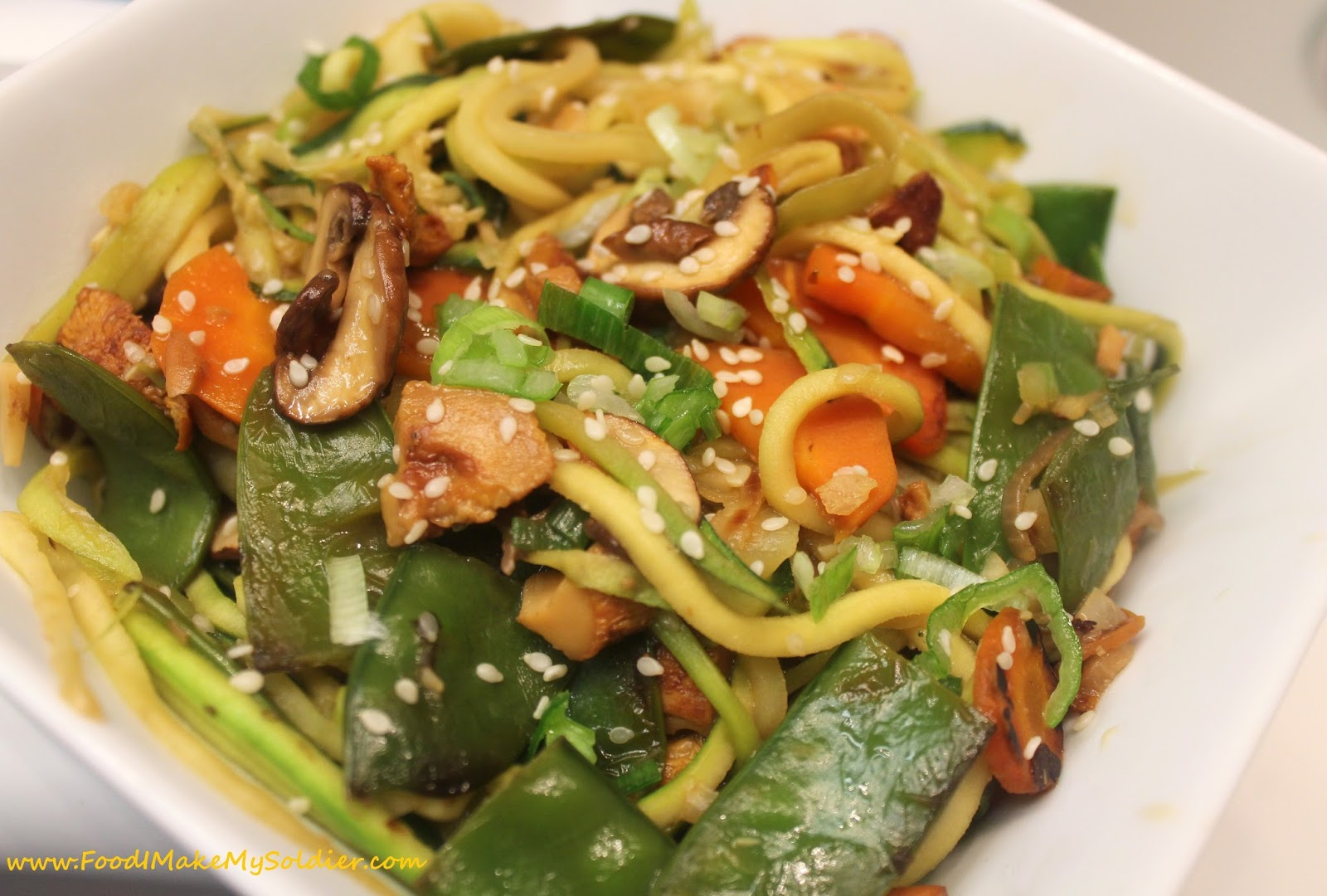 Food I Make My Soldier: Zucchini and Vegetable Lo Mein