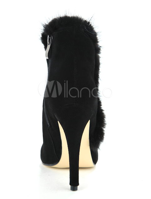 China Wholesale Shoes - 3 9/10'' High Heel Fashion Black Sheepskin Suede Mid Calf Boots