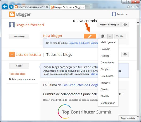 Cómo crear una entrada nueva en Blogger
