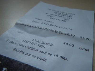 factura de cubierta maxxis ignitor, Trek Bicycle Store, Vigo