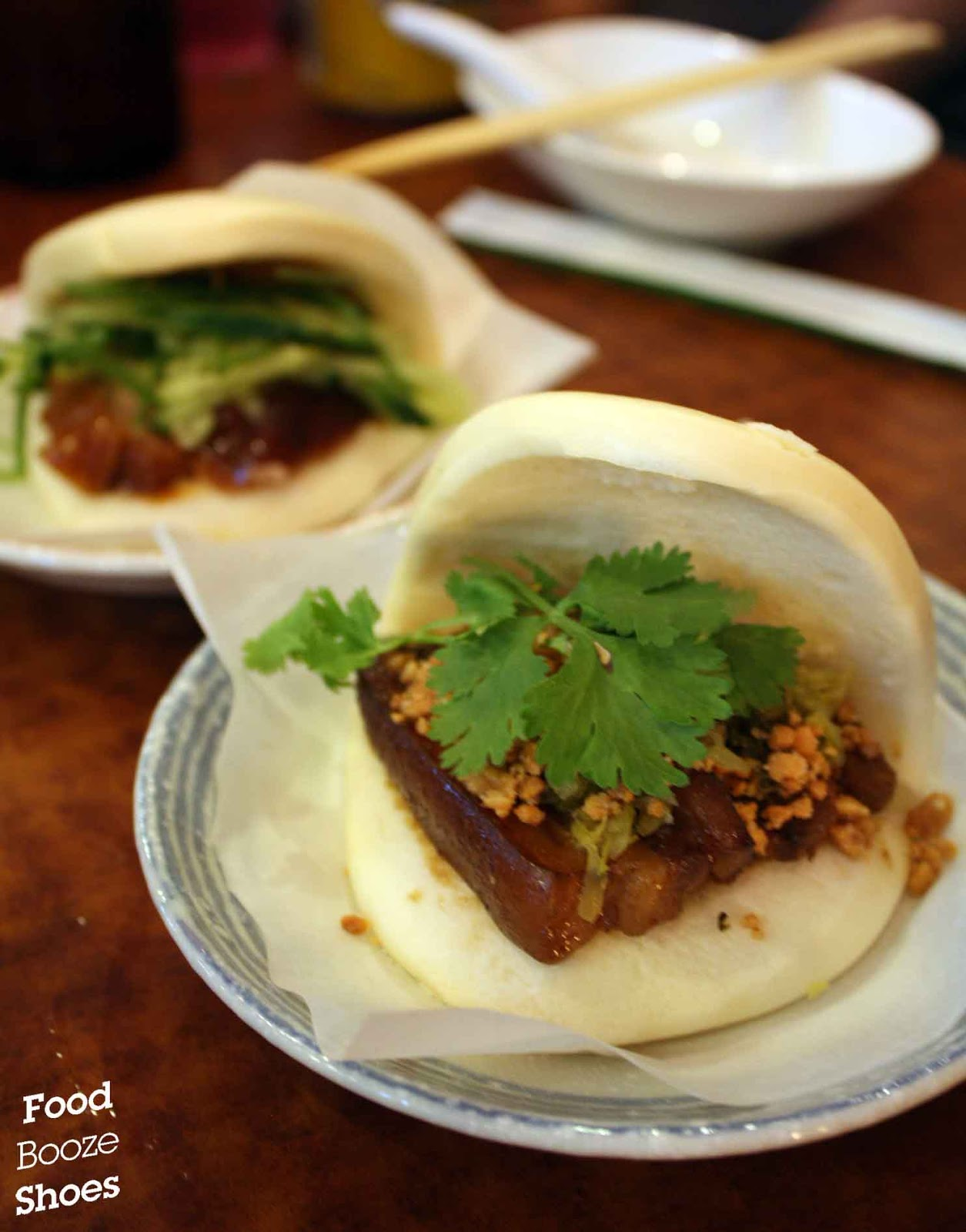 Food Booze And Shoes Mao Squishy Burger Steamed Bun With Pork Belly Pickled Mustard Coriander Peanut Powder