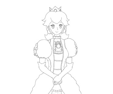#6 Princess Peach Coloring Page