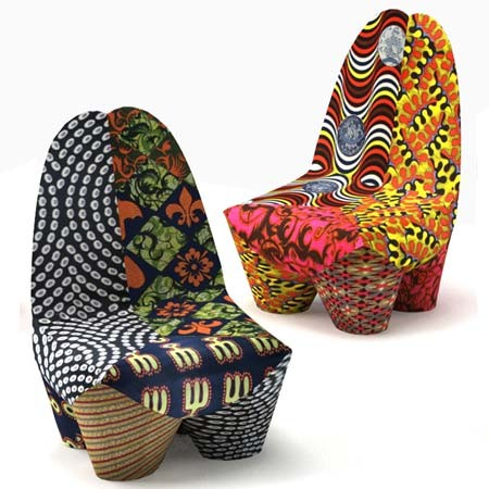 Through the french eye of design african wax fabrics for Chaise africaine