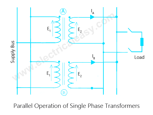 parallel operation of transformers electricaleasy com 1 Line Single Phase Transformer Wiring Diagram parallel operation of single phase transformers Single Phase Transformer Schematic