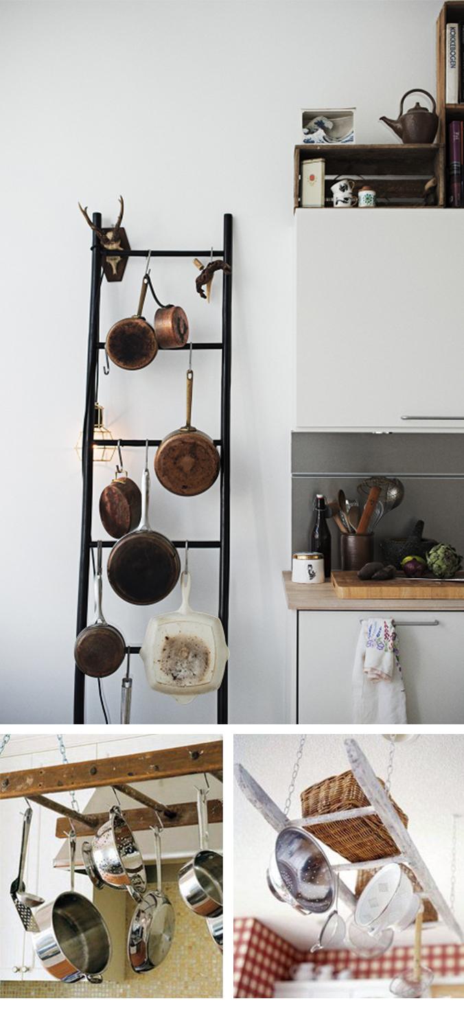 scaletta legno riuso appendi pentole cucina