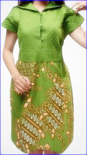 Model batik polos kombinasi dress wanita terbaru