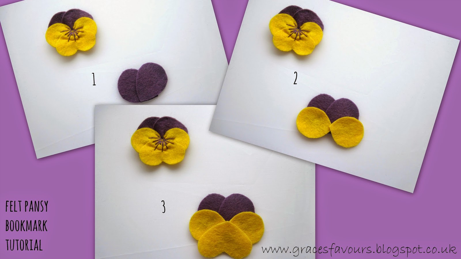 Graces favours craft adventures how to make a felt diy pansy instructions baditri Gallery