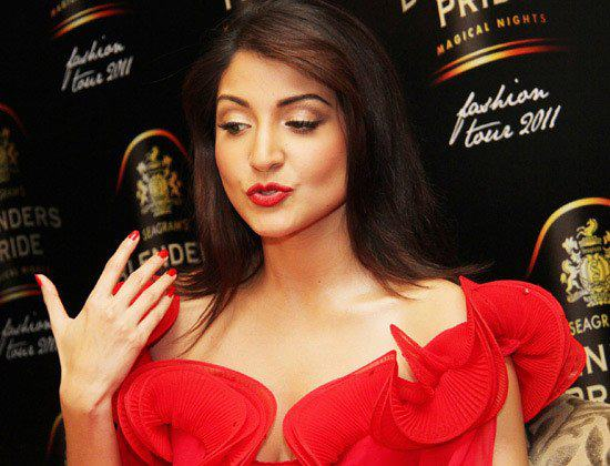Anushka Sharma red gown hot pic - (3) - Anushka Sharma @Blenders Pride FASHION SHOW hot red dress!