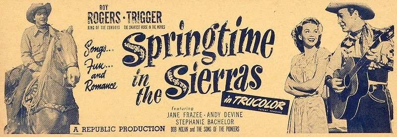 Vintage Movie Poster For Roy Rogers in Springtime in the Sierras