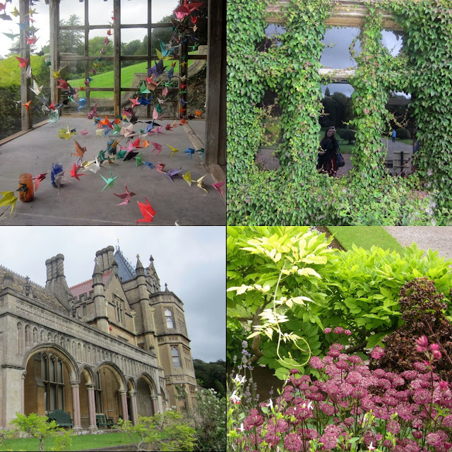 Four square photos: origami cranes, an overgrown window, Tyntesfield House, purple flowers