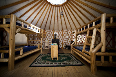 an inside look at camping in a yurt