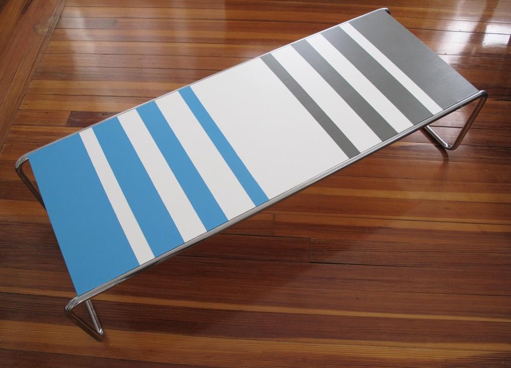 blue lamb furnishings : aqua + gray striped retro coffee table - sold
