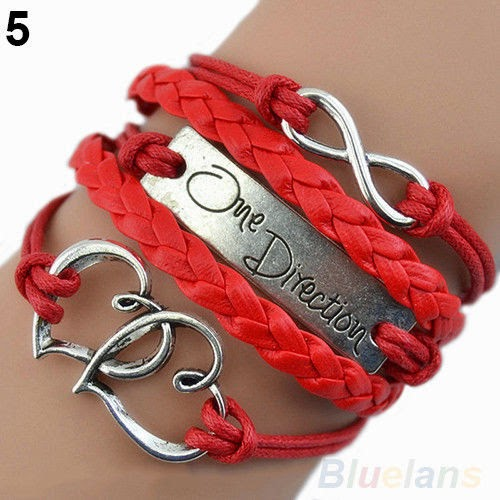 One Direction Love Heart Hand-knitted Charms Bracelet Friendship Nice Gift B67U