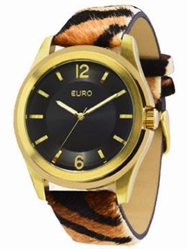 relógio feminino Euro pulseira pelos animal print