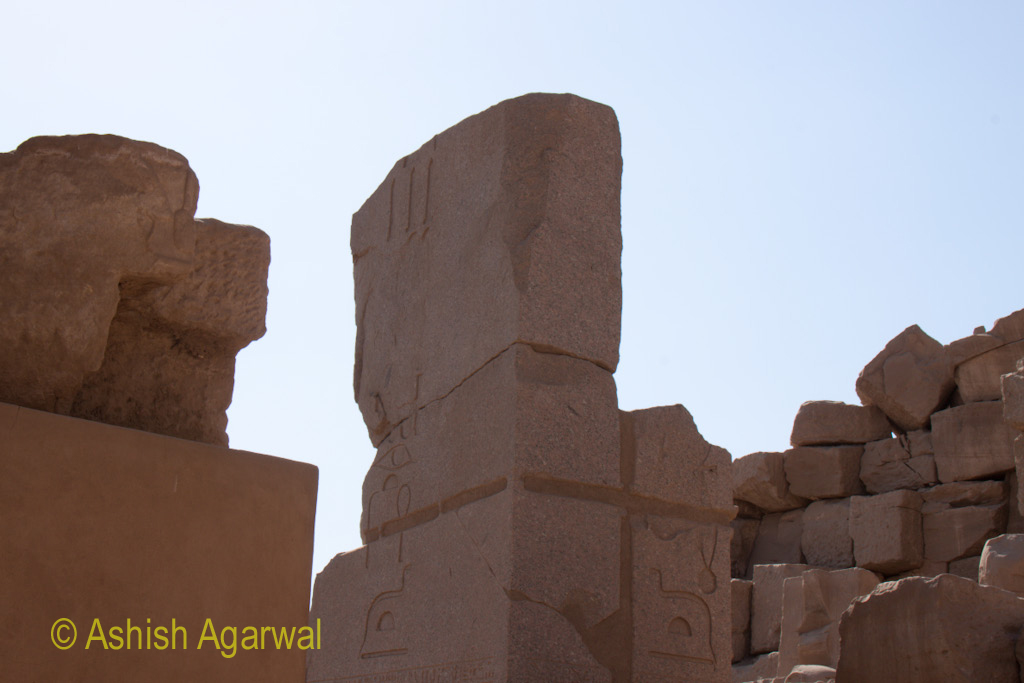 Some of the more damaged structures inside the Karnak temple in Luxor