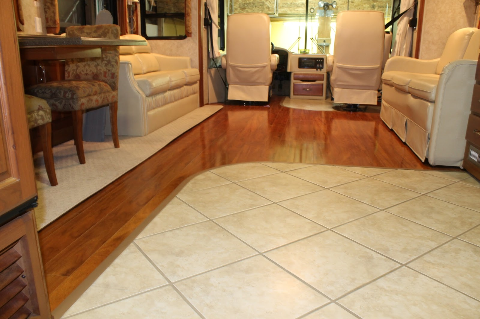 Countryside interiors transforming rvs and trailers for Rubber laminate flooring