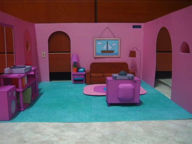 The simpsons living room diorama depapercraftblog for Simpsons living room picture