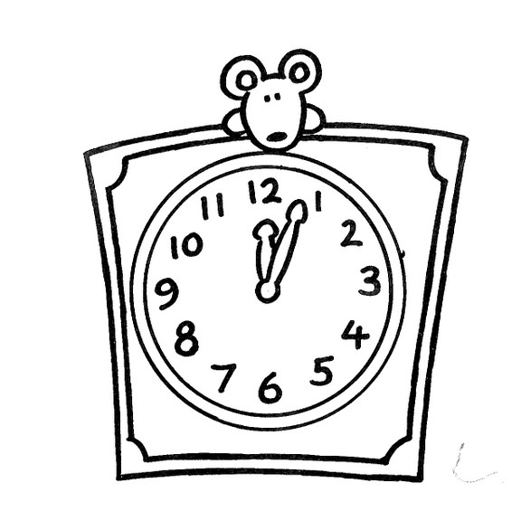 Dibujos De Relojes. Reloj Despertador Dibujo Para Colorear. Vinilo ...