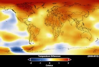 Карта средних отклонений температуры от климатической нормы 2008-2012 гг.
