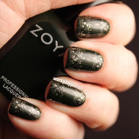 Zoya Envy and Ziv Stamped Nail Art
