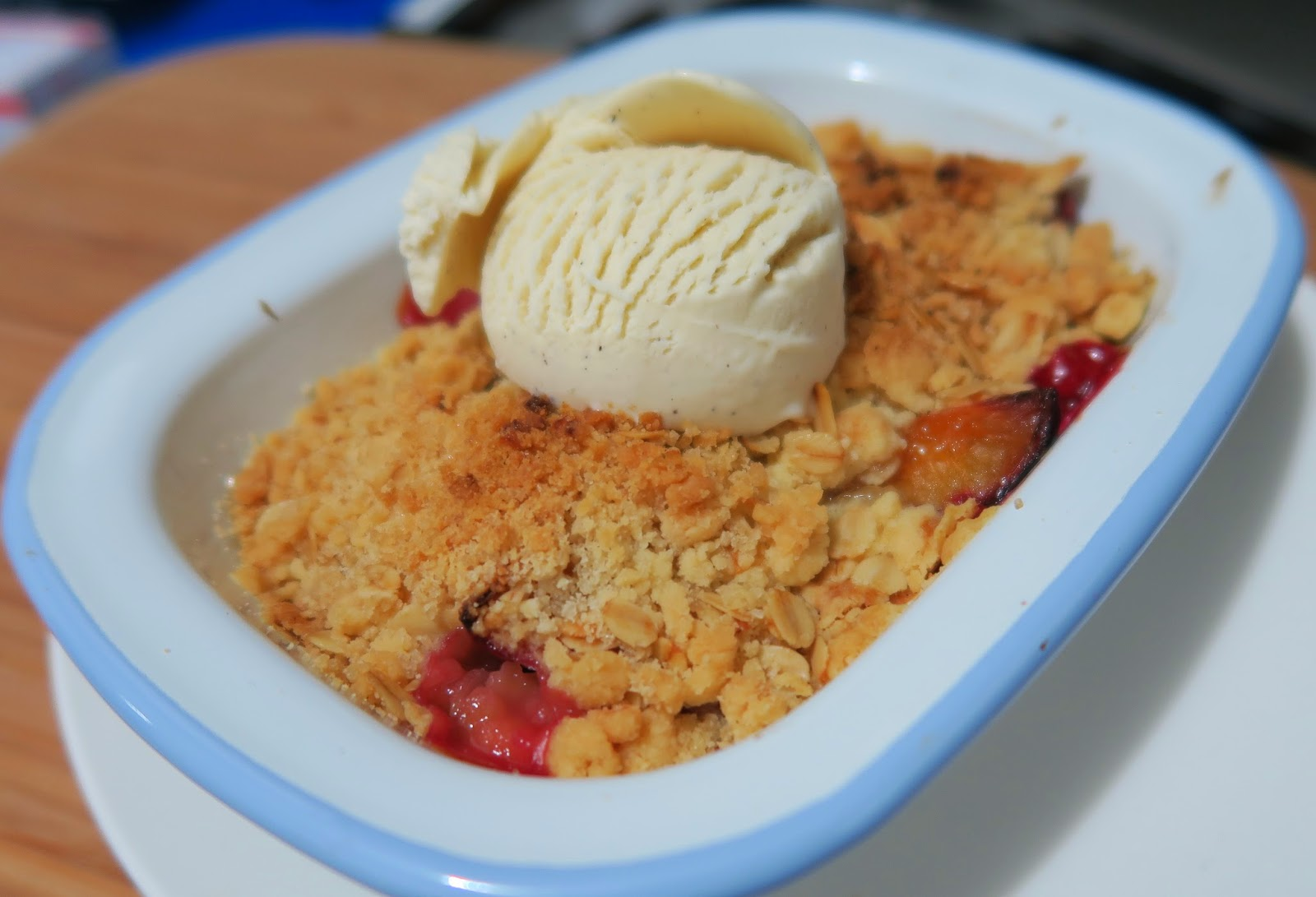 Plum crumble adapted from Nigella Lawson.