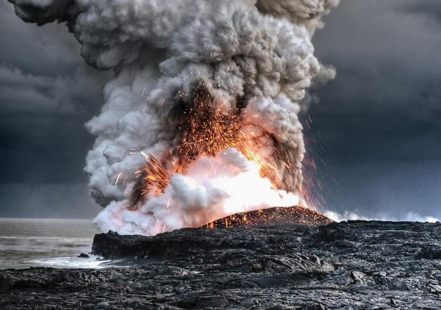 Lava errupting from vent