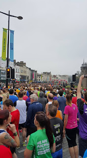 Approaching the start line at the Cardiff half marathon