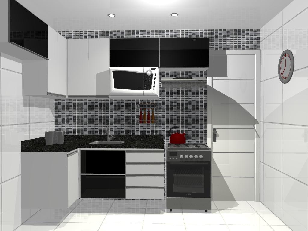 Cozinhas Planejadas em Preto e Branco Bella Kaza Móveis Planejados
