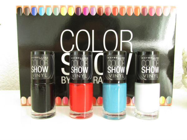 Maybelline Color Show VINYL Kollektion 404 black to the basics, 403 record red, 401 teal the deal, 400 grey beats