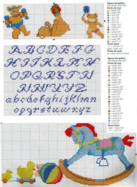 do bebê com o alfabeto em gráfico de ponto cruz alfabeto em ponto