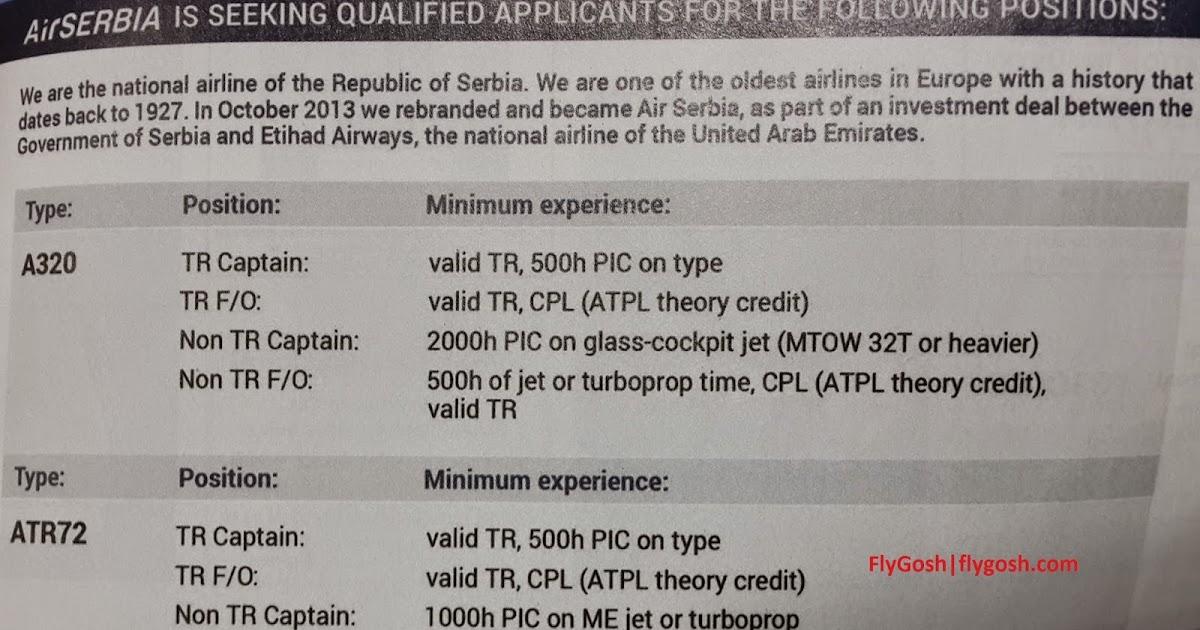 Fly Gosh Air Serbia Pilot Recruitment A320 And Atr