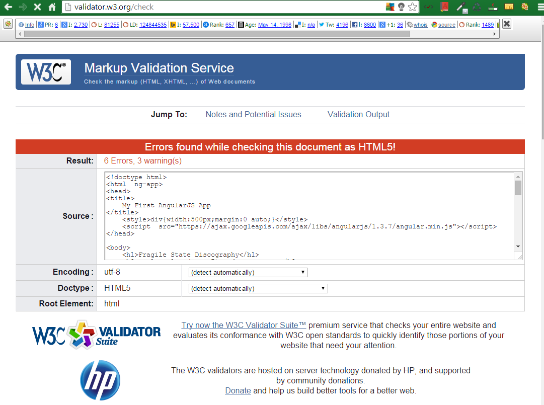 W3C Free Tool for HTML5 Markup Validation 5