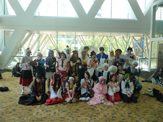 Touhou cosplayers after the panel