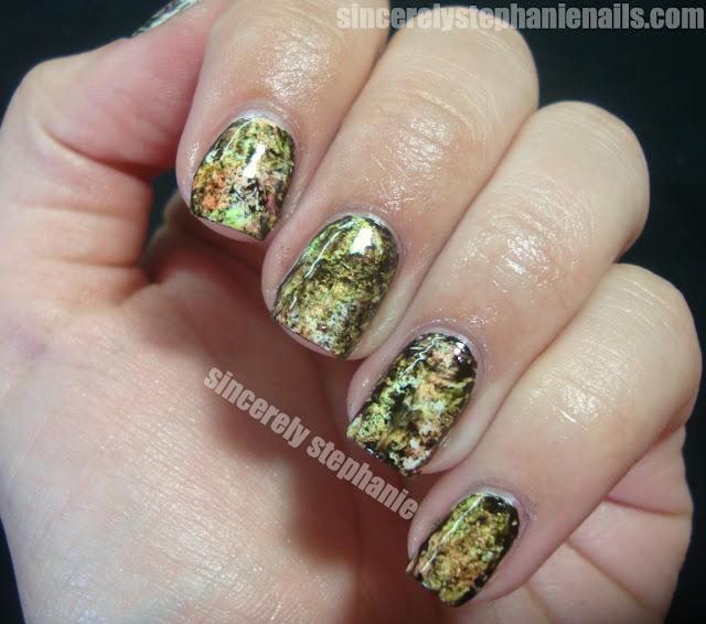 sponging saran wrap nail art