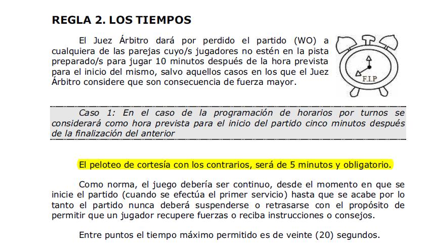 Extracto del Reglamento del Pádel donde hace referencia a los 5 minutos de peloteo