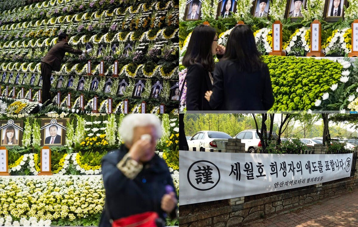 Couple Cha In Pyo-Shin Ae Ra visit the memorial altar of deceased students and offer condolences
