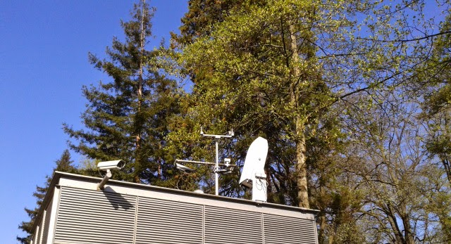 Photo of lidar ceilometer in front of WMO building
